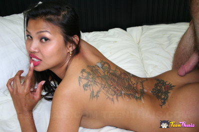 Asian Girl Cumshot On Back Tattoo